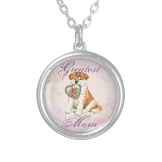 Akita Heart Mom Silver Plated Necklace
