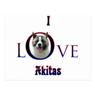 Akita I Love Postcard