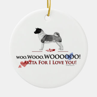 Akita I Love You Ornament