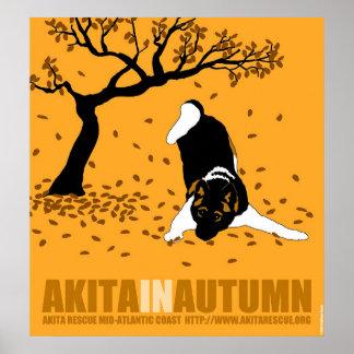 """Akita in Autumn (24"""" x 26"""") Poster"""