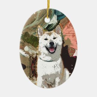 Akita Inu Dog Ceramic Oval Decoration