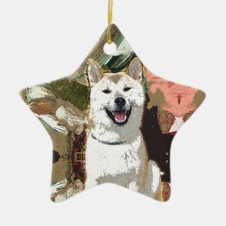 Akita Inu Dog Ceramic Star Decoration