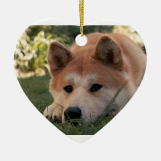 Akita Inu Dog Deep Thoughts Ceramic Heart Decoration