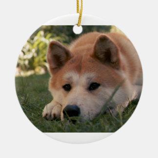 Akita Inu Dog Deep Thoughts Round Ceramic Decoration
