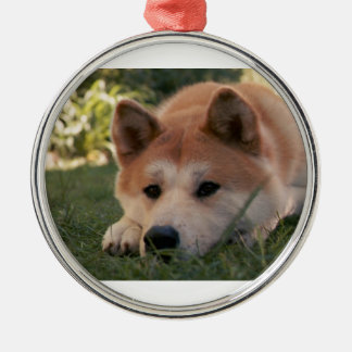 Akita Inu Dog Deep Thoughts Silver-Colored Round Decoration