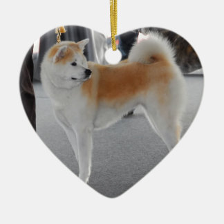Akita Inu Dog In A Dog Show Ceramic Heart Decoration