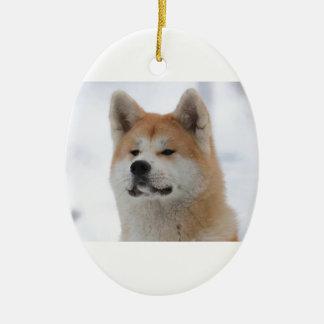 Akita Inu Dog Looking Serious Ceramic Oval Decoration