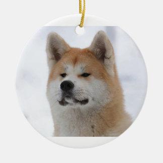 Akita Inu Dog Looking Serious Round Ceramic Decoration