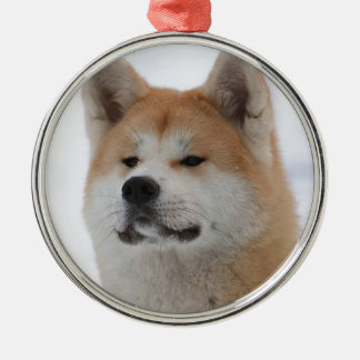 Akita Inu Dog Looking Serious Silver-Colored Round Decoration