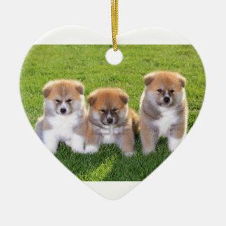 Akita Inu Dog Puppies Ceramic Heart Decoration