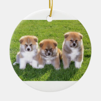 Akita Inu Dog Puppies Ceramic Ornament