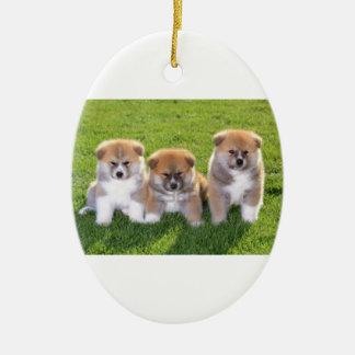 Akita Inu Dog Puppies Ceramic Oval Decoration