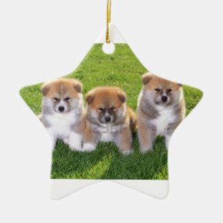 Akita Inu Dog Puppies Ceramic Star Decoration