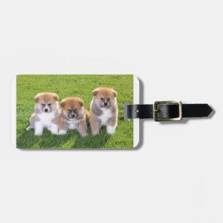 Akita Inu Dog Puppies Luggage Tag