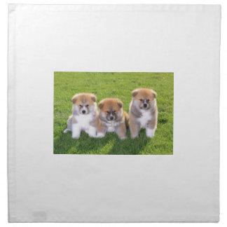 Akita Inu Dog Puppies Napkin