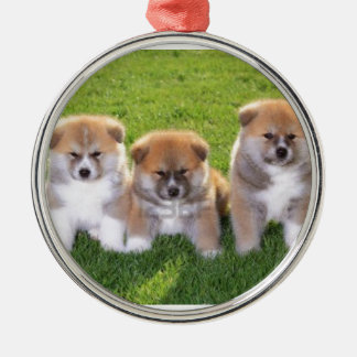 Akita Inu Dog Puppies Silver-Colored Round Decoration
