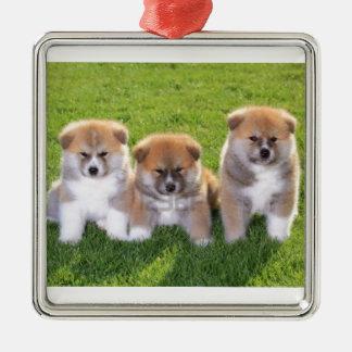 Akita Inu Dog Puppies Silver-Colored Square Decoration