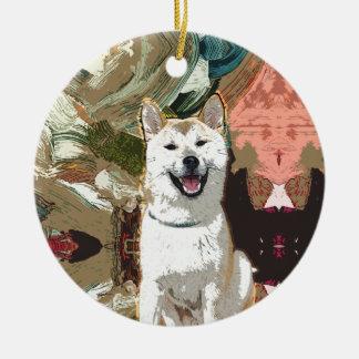 Akita Inu Dog Round Ceramic Decoration