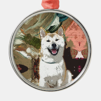 Akita Inu Dog Silver-Colored Round Decoration