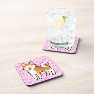 Akita Inu / Shiba Inu Love Beverage Coasters