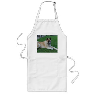 akita laying long apron
