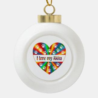 Akita Love Ceramic Ball Decoration