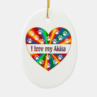 Akita Love Ceramic Oval Decoration