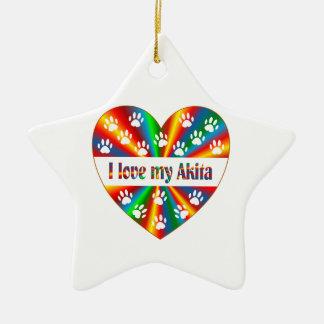Akita Love Ceramic Star Decoration