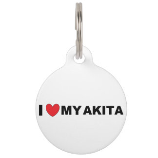 akita love pet name tag