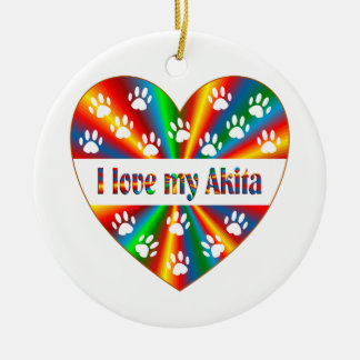 Akita Love Round Ceramic Decoration