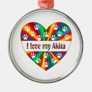 Akita Love Silver-Colored Round Decoration