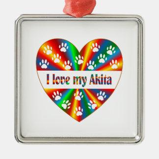 Akita Love Silver-Colored Square Decoration