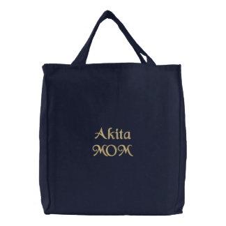 Akita MOM Embroidered Tote Bag