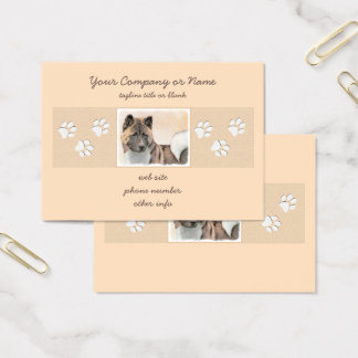 Akita Painting - Cute Original Dog Art Business Card