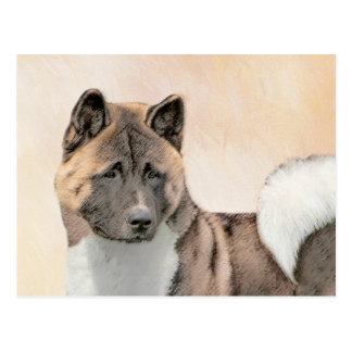 Akita Painting - Cute Original Dog Art Postcard