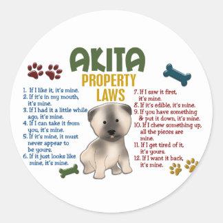 Akita Property Laws 4 Round Stickers