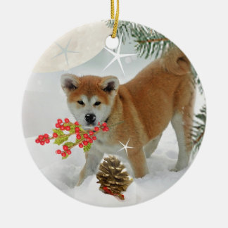 Akita Puppy Winter Play Ceramic Ornament