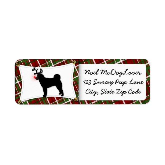 Akita Reindeer Christmas Return Address Label