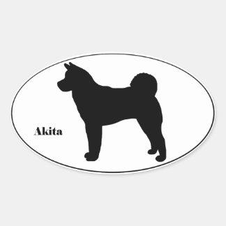 Akita SIlhouette Oval Sticker