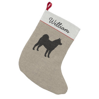 Akita Silhouette with Custom Text Small Christmas Stocking