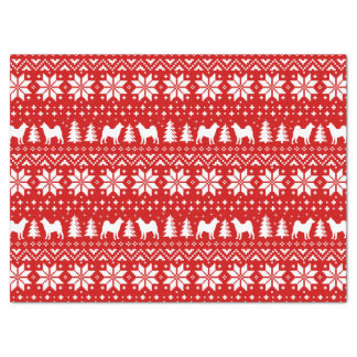 Akita Silhouettes Christmas Pattern Tissue Paper