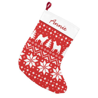 Akita Silhouettes Holiday Pattern Small Christmas Stocking