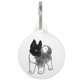 akita silver black overlay cartoon pet ID tag