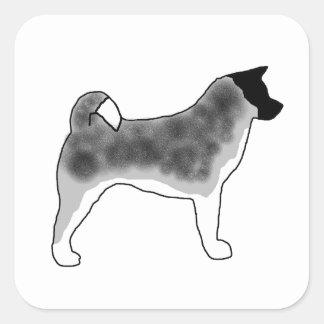 akita silver black overlay silo square sticker