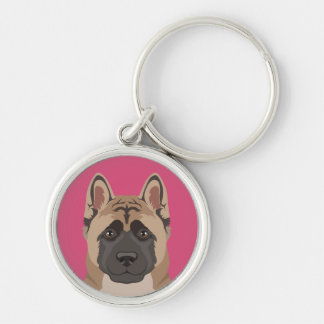 Akita Silver-Colored Round Key Ring