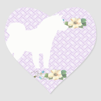 Akita Violet Floral Heart Stickers