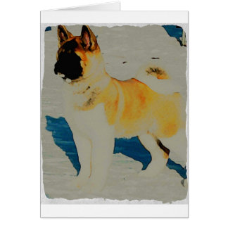 Akita Watercolor Card