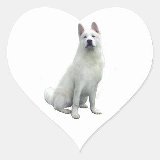 Akita - White Heart Sticker