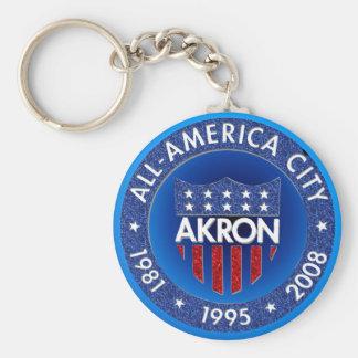 Akron All America City Keychain. Basic Round Button Keychain