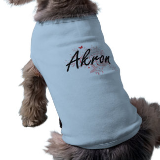 Akron Ohio City Artistic design with butterflies Sleeveless Dog Shirt
